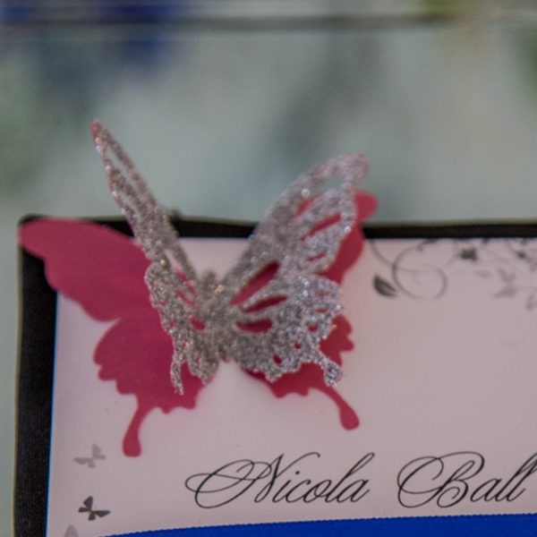 Glittered butterfly for wedding menu