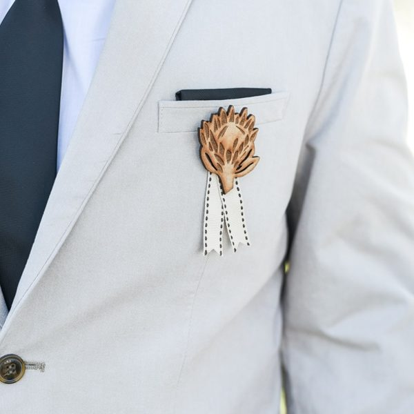 Laser cut and engraved wedding boutonniere