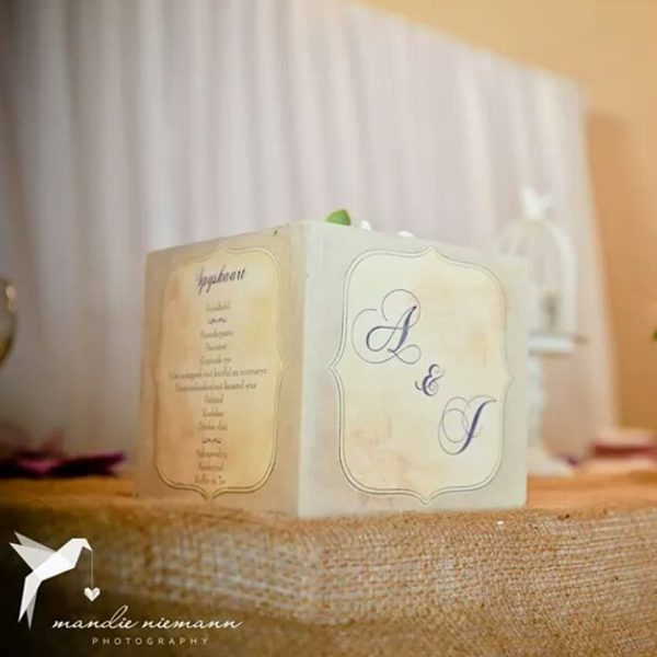 Hand painted menu box wedding centrepieces