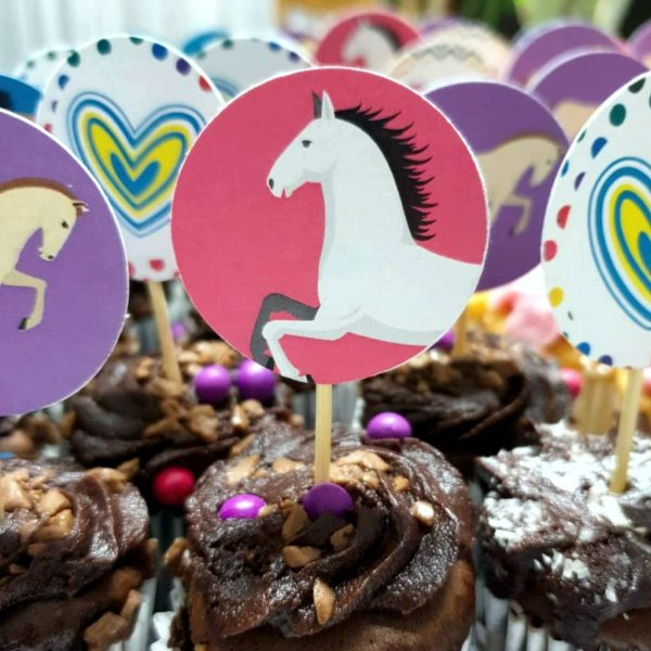 Horse and hearts cupcake toppers for girls party