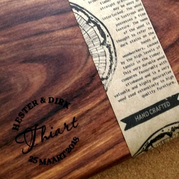 Hand crafted serving platter with laser engraved names